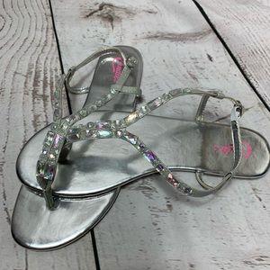 NWOT Candie's Gem Iridescent Buckle Sandals 9/10